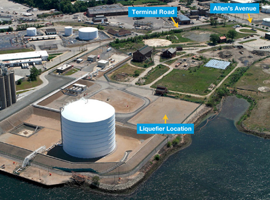 A new LNG project is being proposed for the Providence waterfront, next to the existing 127-foot-tall, 26-million-gallon, natural-gas storage tank. (National Grid)
