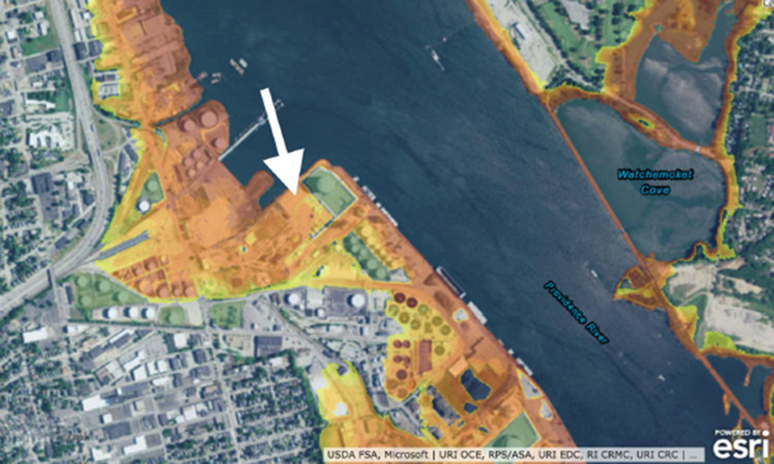 This STORMTOOLS map, developed by the Coastal Resources Management Council and the University of Rhode Island, shows the depth of water during a 100-year coastal storm. The arrow points to where the LNG facility is proposed to be built on the Providence waterfront.