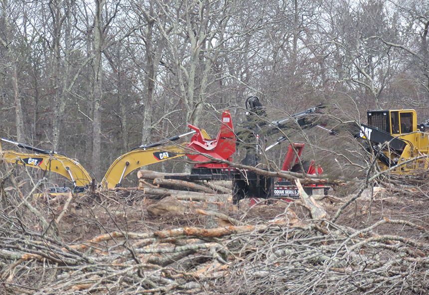 A group of residents in the Coventry village of Greene are concerned about the number of trees being cut down to make room for wind turbines and solar panels. (John Shields)