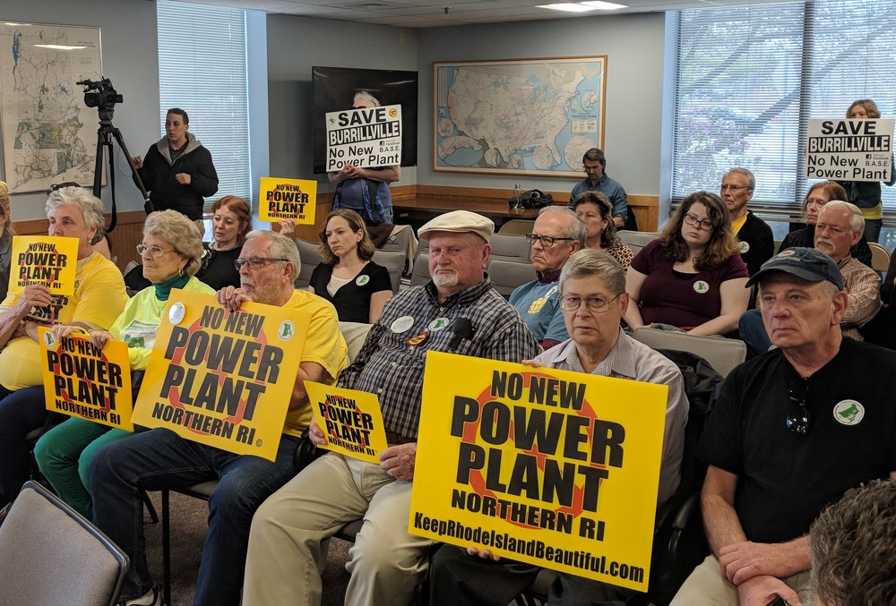 Opponents of the fossil-fuel power plant proposed for Burrilville, R.I., filled the gallery during the project's final opening statements. (Tim Faulkner/ecoRI News photos)