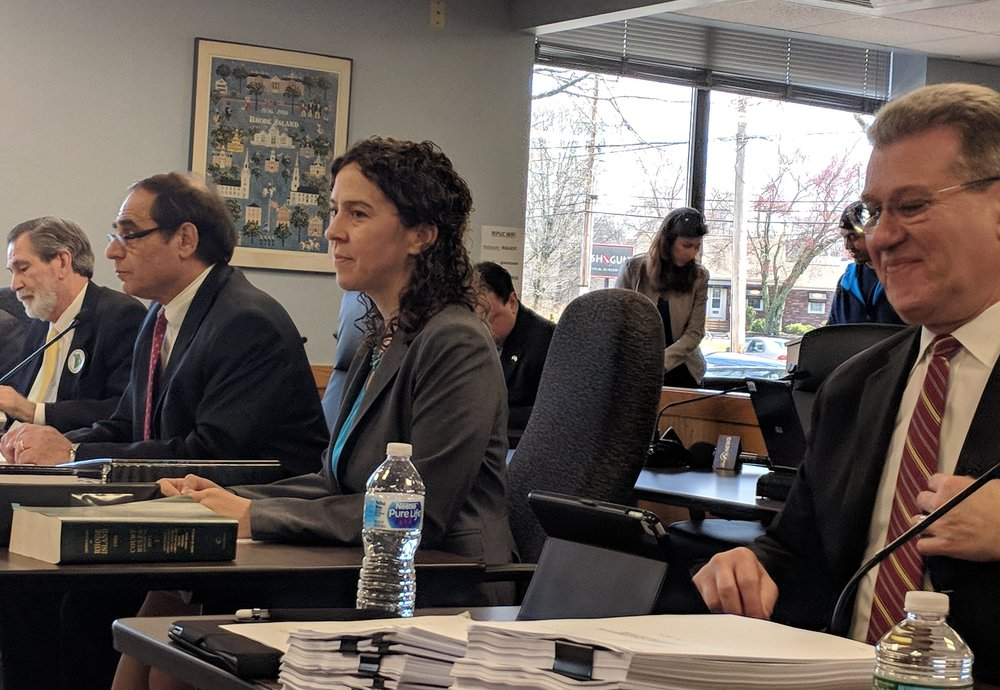 Attorneys delivered opening statements April 26. Michael McElroy, left, for the town of Burrillville, Jerry Elmer and Amy Moses for the Conservation Law Foundation, and Michael Blazer, right, for Invenergy.