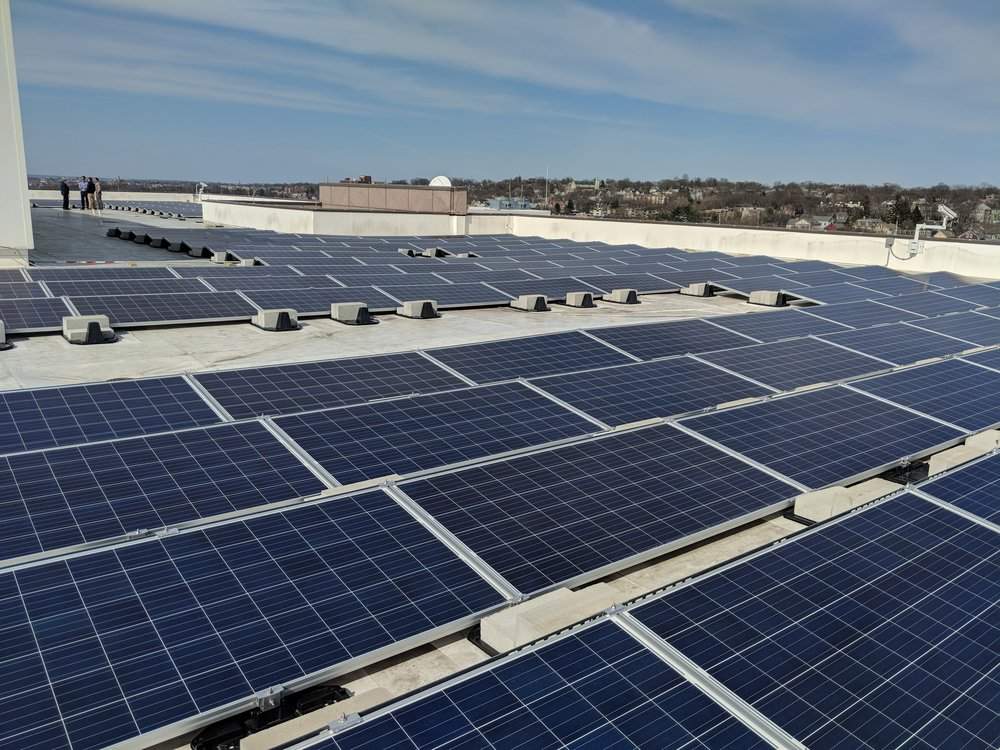 This solar array on the roof of the Office of Administration is one of three Rhode Island government buildings to join the Lead by Example initiative. (Tim Faulkner/ecoRI News)