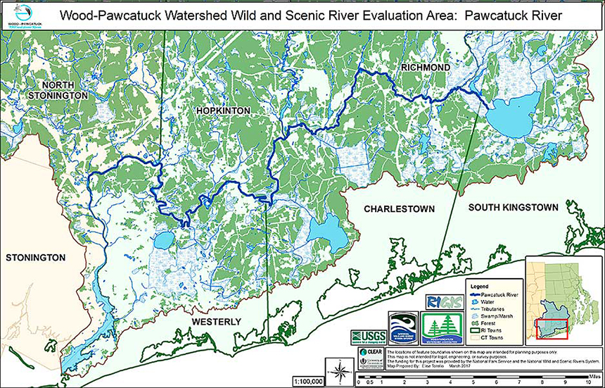 The Wood-Pawcatuck watershed is 300 square miles. The seven rivers up for Wild and Scenic designation are the Beaver, Chipuxet, Green Fall-Ashaway, Queen-Usquepaugh, Pawcatuck, Shunock, and Wood. (WPWA)
