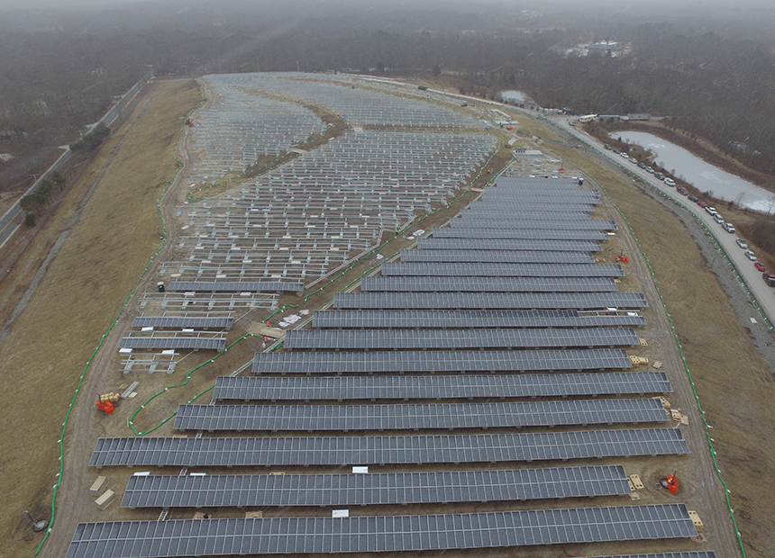 This 20-acre solar facility, built on the former Rose Hill landfill in South Kingstown, R.I., has a capacity of 4.7 megawatts. (Kearsarge Energy)