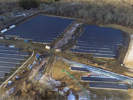 This former Superfund site off Plains Road in South Kingstown is now home to 4.6 megawatts of solar energy. (Kearsarge Energy)
