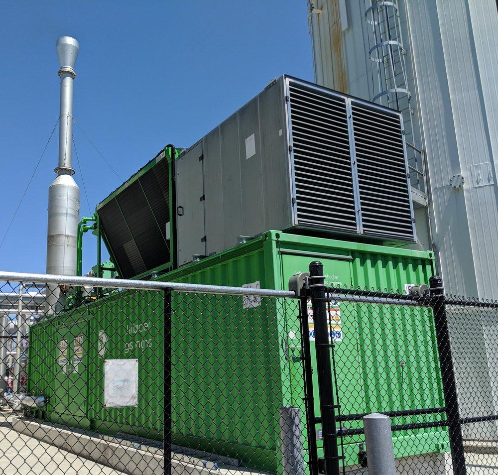 Biogas from the anaerobic digester fuels a 1.1-megawatt generator. (Tim Faulkner/ecoRI News photos)
