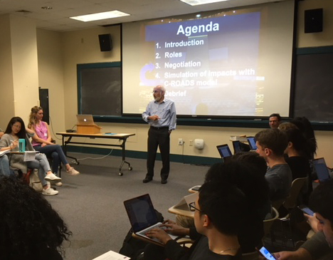 MIT professor John Sterman recently visited Brown University to engage students and the public with interactive climate modeling. (Nicholas Boke/ecoRI News)