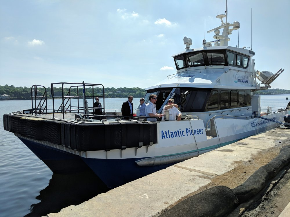 At least two transport vessels like this one would be built by Blount Boats of Warren, R.I., to service the proposed offshore Revolution Wind project. (Tim Faulkner/ecoRI News)