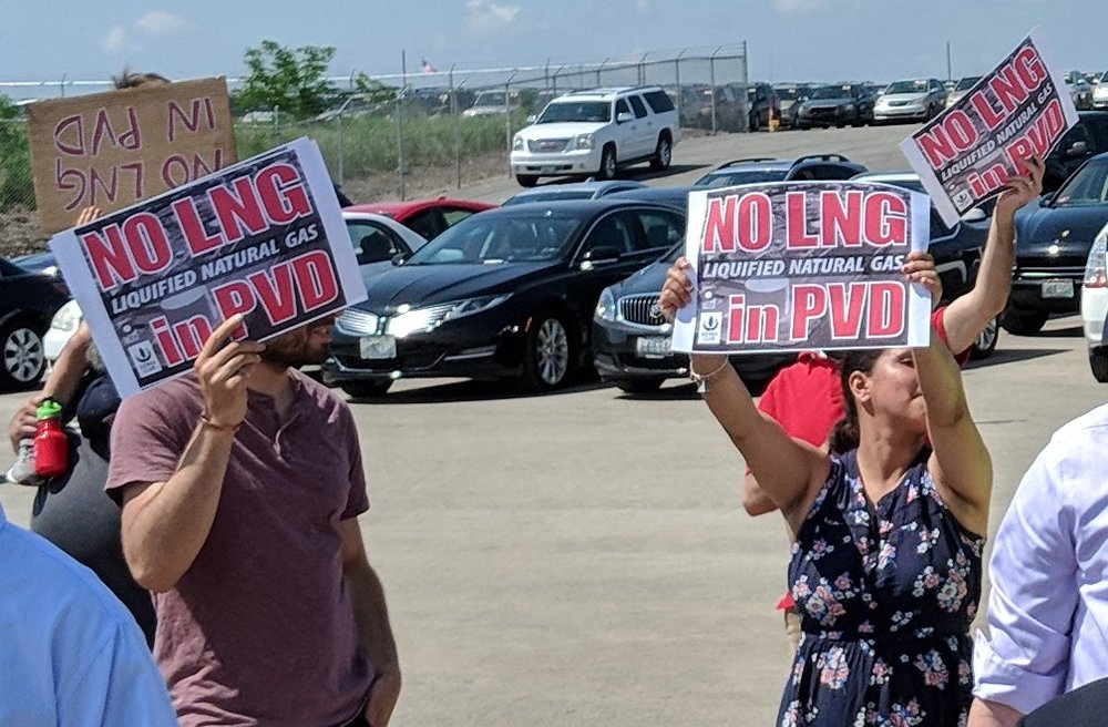 The LNG facility proposed for South Providence has plenty of opposition. (Tim Faulkner/ecoRI News)