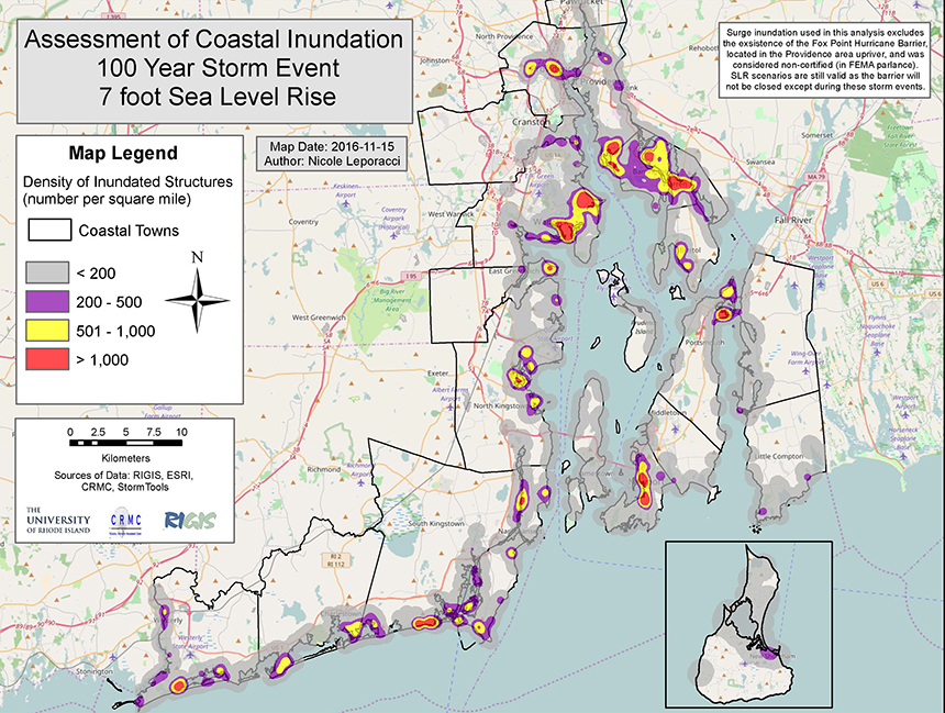 The Ocean State's 21 coastal communities have many structures that will be exposed to projected sea-level rise. (Beach SAMP)