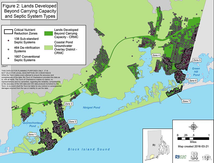 There are more than 3,000 onsite wastewater treatment systems in Charlestown's salt ponds watershed and nearly 84 percent are within a 'Lands Developed Beyond Carrying Capacity' area.