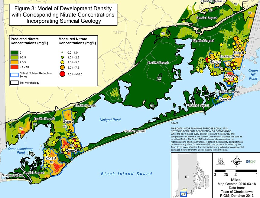In the town's coastal pond watershed sampling of private wells has found nitrogen concentrations that approach or exceed EPA established maximum contaminant levels.
