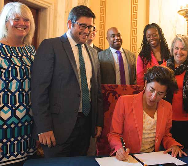 Gov. Gina Raimondo signed an executive order on Sept. 15, 2017 calling for the development of the state's first comprehensive climate preparedness strategy. (state of Rhode Island)