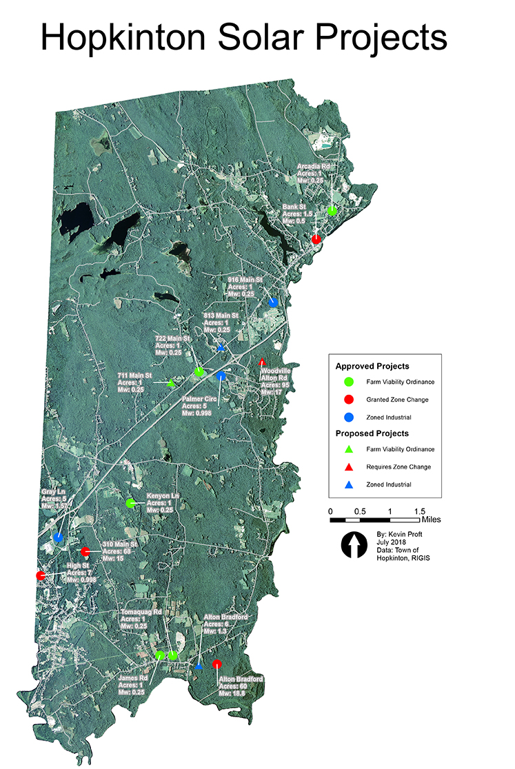 A 17th solar project, GD Hopkinton, has been proposed for the Palmer Circle area, according to a June 18 Hopkinton Planning Department memo. (Kevin Proft)