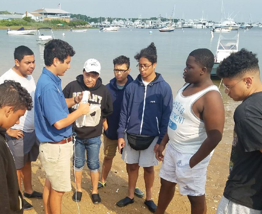 At Great Salt Pond the students learn how to make and tow plankton nets and test water quality. (The College Crusade Rhode Island photos)