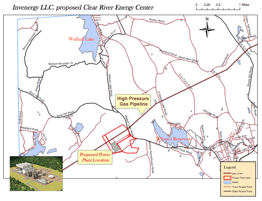 The proposed Clear River Energy Center would be situated near  Wilson Reservoir and the Clear River . (Invenergy)