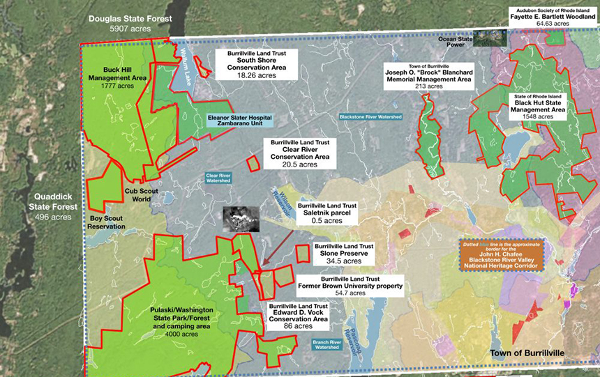 This map shows the amount of conservation land that surrounds the site of the proposed Clear River Energy Center, the black and white box above the Pulaski/Washington area. (Burrillville Land Trust)