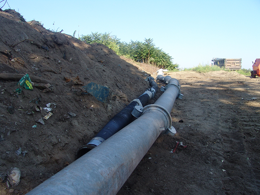 The Warwick Sewer Authority bypassed the damaged area using about 100 feet of interlocking metal pipe.