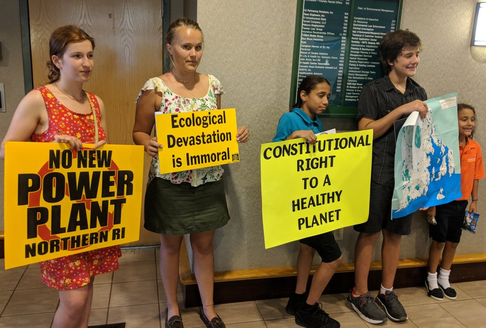 Students from Nature's Trust Rhode Island want the Rhode Island Department of Environmental Management to adopt their climate plan or face legal action. (Tim Faulkner/ecoRI News)