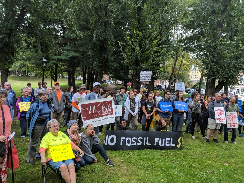 About 175 protestors attended the Rise For Climate, Jobs, and Justice rally at Roger Williams Memorial Park in Providence.