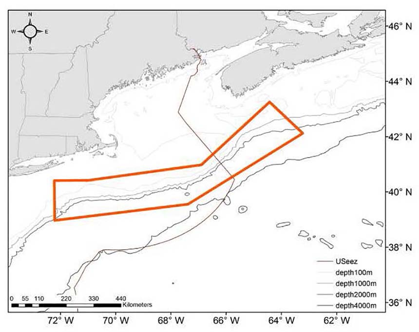 The operating area for the recent survey in U.S. and Canadian waters is shown in the orange box. The black line from the far eastern coast of Maine out to sea is the U.S.-Canada maritime boundary known as the Hague Line. The lighter curved lines from lower left to top right mark depth contours. (Danielle Cholewiak/NOAA Fisheries)