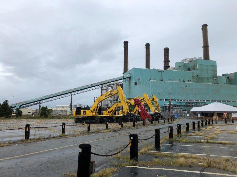 Demolition began Sept. 28 at the Brayton Point Power Station. (Brayton Point LLC)
