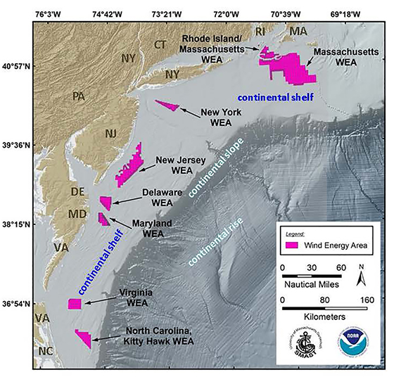 This map shows the locations of the eight studied wind-energy areas between Massachusetts and North Carolina. (NOAA Fisheries/University of Massachusetts Dartmouth)
