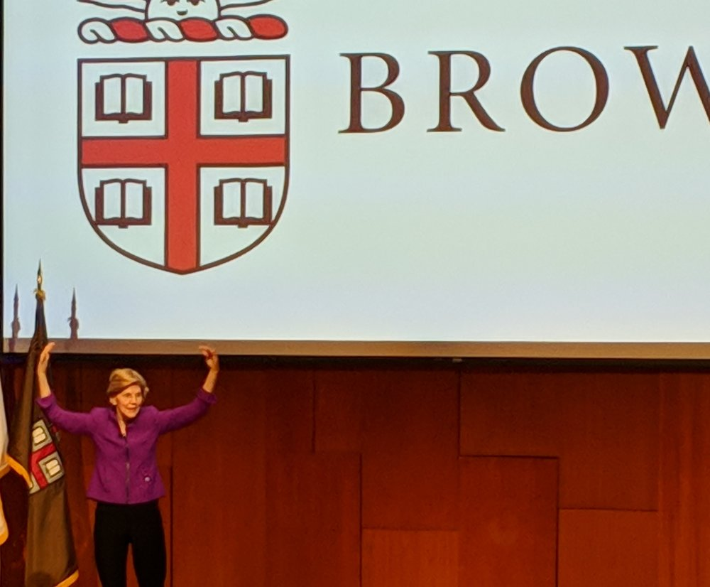 Massachusetts Sen. Elizabeth Warren spoke at Brown University on Nov. 7. (Tim Faulkner/ecoRI News)