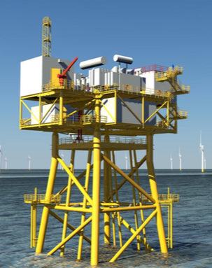 A rendering of the offshore substation for the proposed South Fork Wind Farm. (Deepwater Wind)