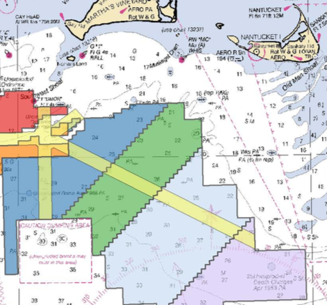 Vineyard Wind proposes to install up to 94 wind turbines in the northern section of the green wind-energy zone. (Vineyard Wind)