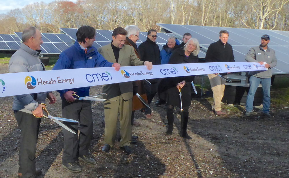 Phase II of the Forbes Street solar array doubled the size and electric capacity of the renewable-energy system built on top of a former landfill. (Tim Faulkner/ecoRI News photos)