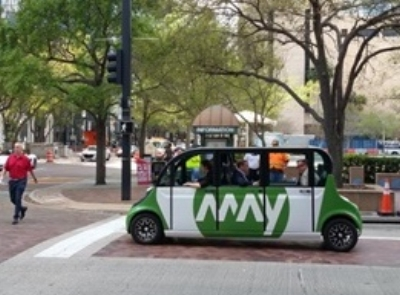 Driverless buses like this one are expected to arrive in Providence this spring. (May Mobility)