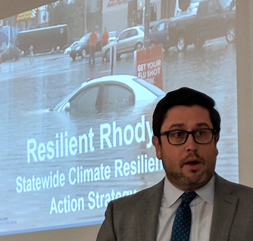 Shaun O'Rourke, the state's chief resiliency officer, delivered a climate mitigation plan to Gov. Gina Raimondo last summer. (ecoRI News)