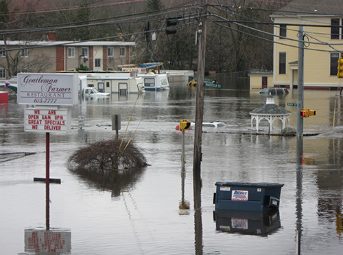 The floods of March 2010 left the intersection of Providence, River and Wakefield streets in West Warwick underwater. (NOAA)