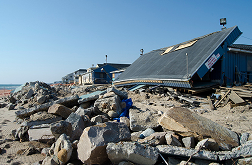 Misquamicut Beach in Westerly was hit hard by Hurricane Sandy in 2012, but of the 29 waterfront properties damaged, only five were built to better withstand climate change. (istock)