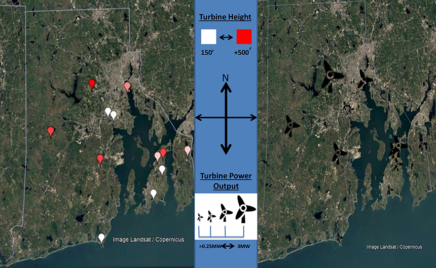 Rhode Island has 29 land-based wind turbines that produce 100 kilowatts or more. Click the map for the list. (Larry Wood/ecoRI News)