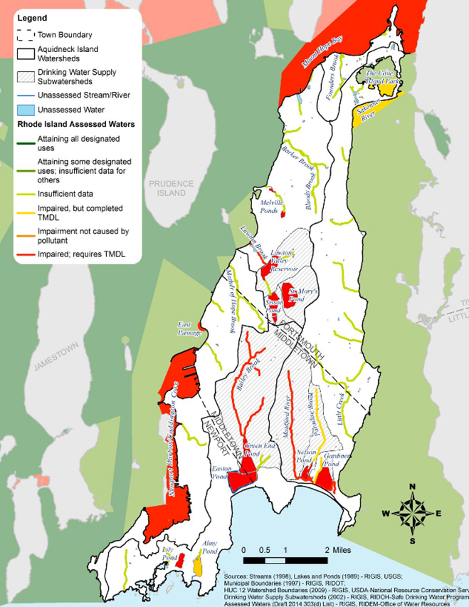 The primary causes of water impairments on Aquidneck Island are total phosphorus, total organic carbon, and bacteria. Bailey's Brook and the Maidford River, which feed multiple reservoirs, are listed as impaired by enterococcus and fecal coliform. (DEM)
