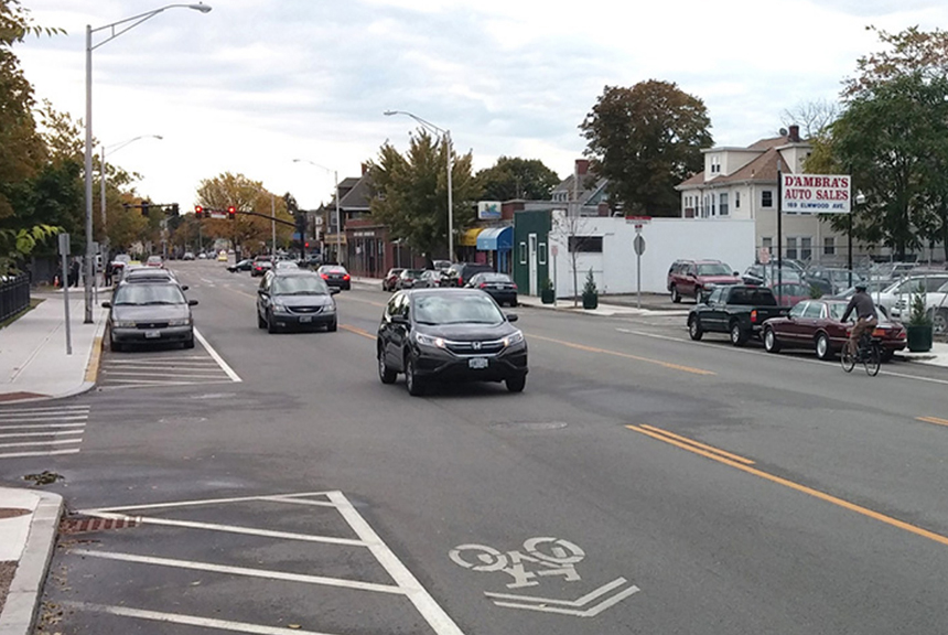Four years ago, when the Rhode Island Department of Transportation repaved Elmwood Avenue, it chose to include sharrows rather than incorporate separated bike lanes. (ecoRI News)