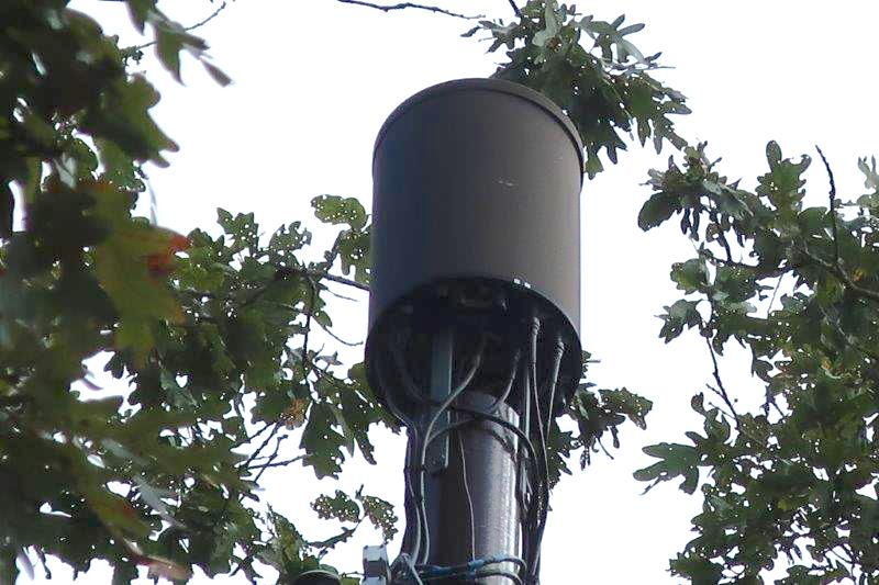 This wireless cell transmitter atop a utility pole in Wakefield, R.I., looks like a 5G small-cell antenna. (Stephen Dahl)