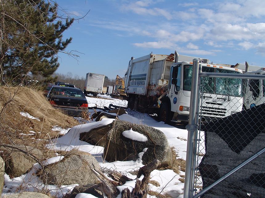The owners of Wright's Auto Parts told DEM that snow, rain, and runoff don't come in contact with any of the operation's activities or materials. (Frank Carini/ecoRI News)