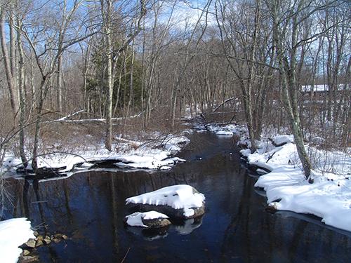 Hemlock Brook feeds directly into the Barden Reservoir. (Frank Carini/ecoRI News)