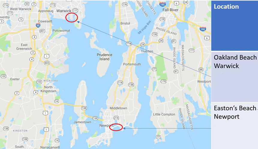 A joint project by the Rhode Island Department of Health and Clean Ocean Access examined water-quality issues at two popular beaches. (DOH/COA)
