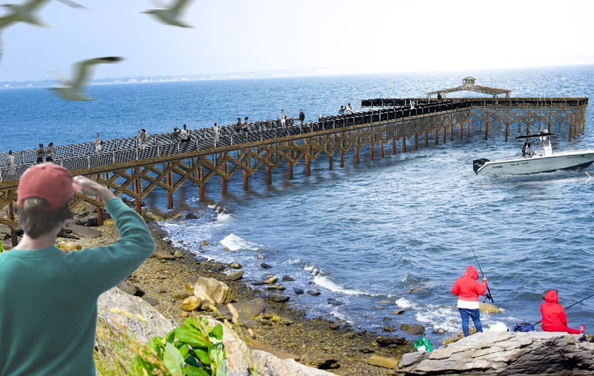 An artist's rendering of the 280-foot-long pier. Railing heights will vary to allow people of all ages and abilities to see and access the water. (DEM)