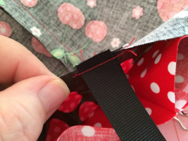 Stay stitch the ribbon on