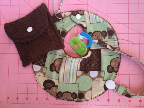 Quilting cotton and terry cloth make the cutest little bib and leash set