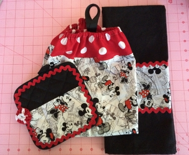 MICKEY MOUSE KITCHEN SET -- Notebook HOLDER, PLASTIC BAG HOLDER, KITCHEN TEA TOWELS.
