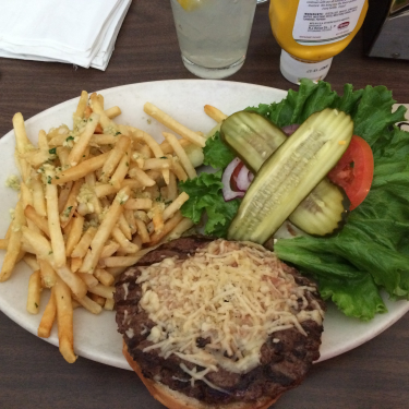 The Diamondback cheeseburger with Killer Garlic Fries.  No vampires will be biting me!