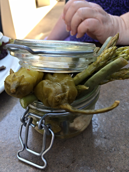 The  Pickle Jar  appetizer is a Seasonal selection of local and estate vegetables, pickled with Pale Ale