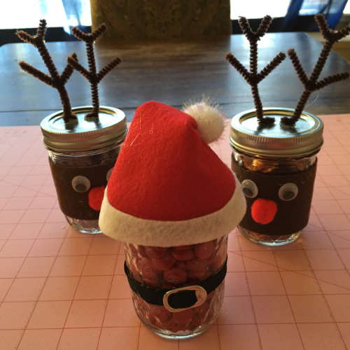 Santa's Belly Jar and his Reindeer Jars.  Fill with candies or cookies and they make great gifts.