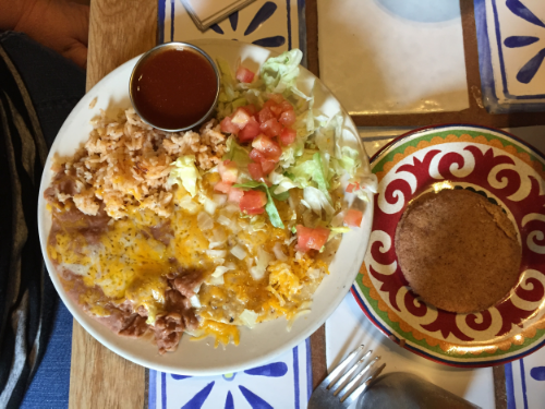 My choice was Chicken Enchiladas with the sauce on the side. I also ordered two biscochitos (the state cookie of New Mexico.)
